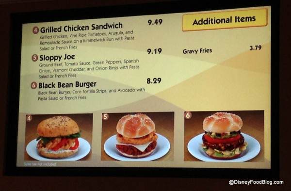 Pop Century Sandwich Station Menu
