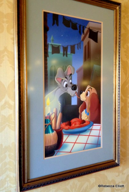Images of Lady & the Tramp Are on Display Throughout the Restaurant