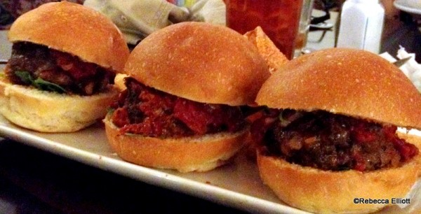 Meatball Sliders Topped with Provolone & Arugula