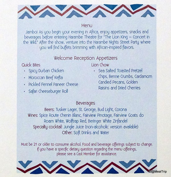 Welcome Reception Menu -- Click to Enlarge