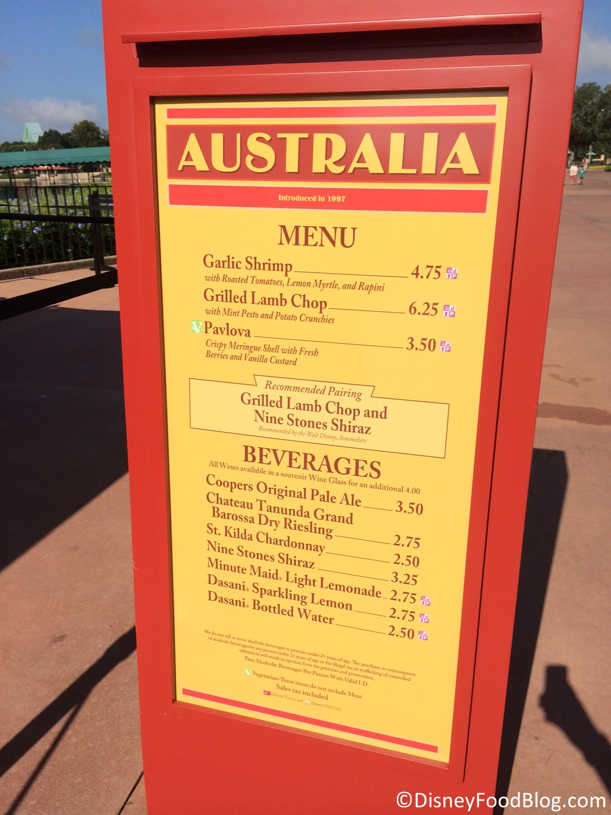 Australia 2014 epcot food and wine festival the disney for Australian cuisine menu