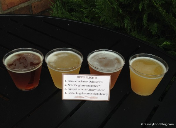 Beer flight (featuring 4 4-ounce servings)