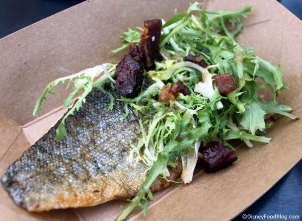 Seared Rainbow Trout with Bacon, Frisee and Maple Minus 8 Vinaigrette