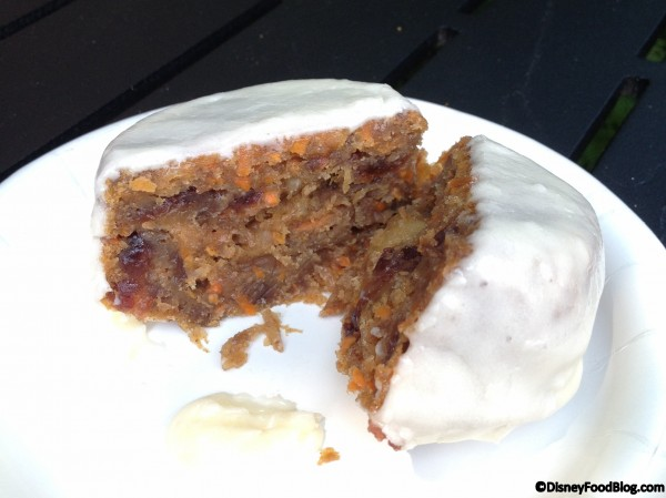Cross section of carrot cake with cream cheese icing