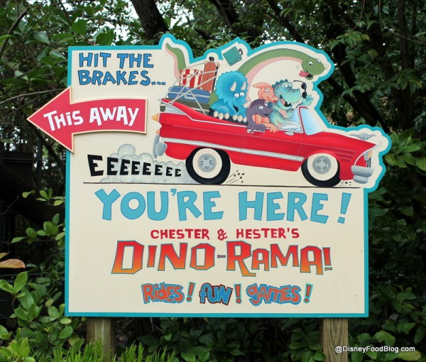 Chester & Hester's Dino-Rama sign