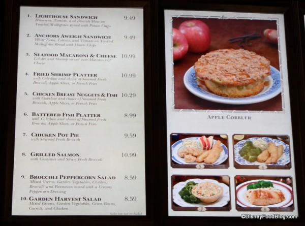 Columbia Harbour House dinner menu