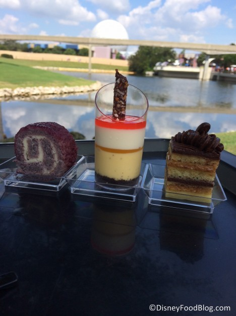 Dessert Trio: Passion fruit coconut creamsicle, blueberry lime cheesecake roll, and chocolate espresso opera cake