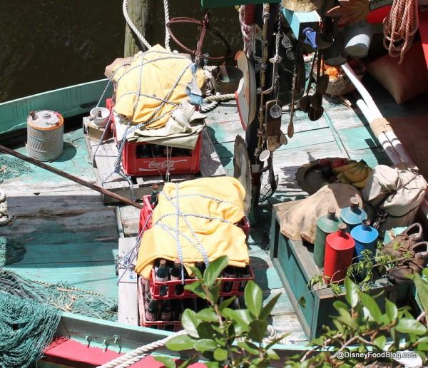 Coke crates in boat
