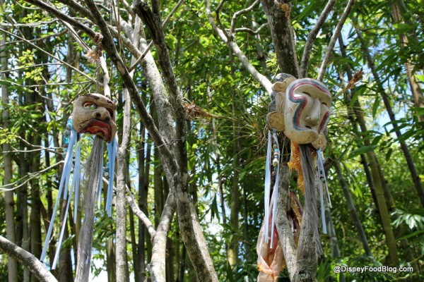 Masks hanging from trees around the Lower Garden