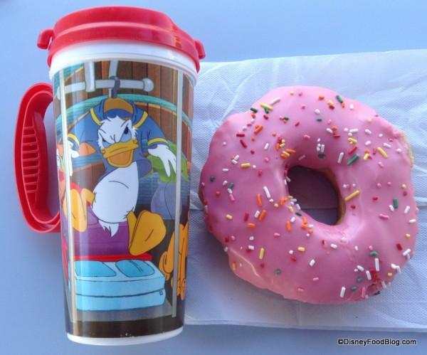 Donut by refillable mug