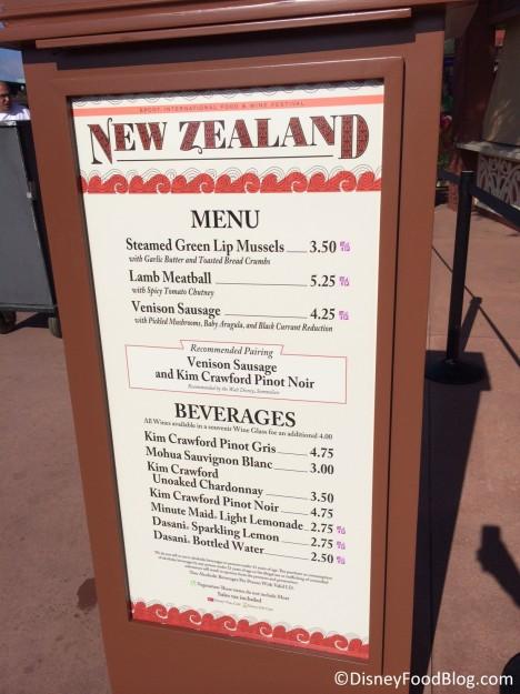 2014 New Zealand Menu