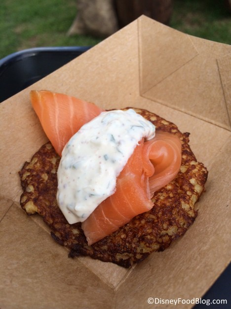 Fresh potato pancake with smoked Scottish salmon and herb sour cream