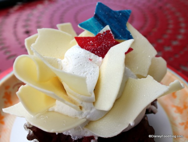 Toppings on Red White & Blue Cupcake