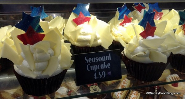 Red White and Blue Cupcakes in bakery case