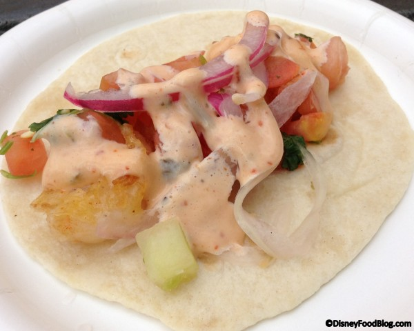 Shrimp taco: Fried shrimp, pickled habanero pepper and onions on a flour tortilla
