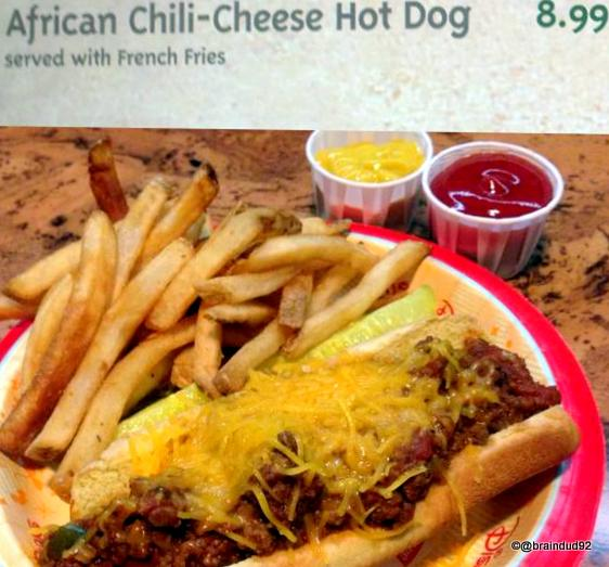 African Chili Cheese Dog