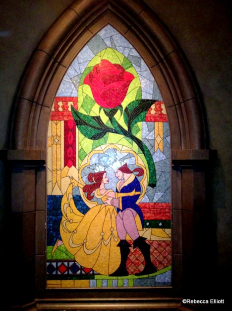 Belle and the Beast Tile Mosaic in the Entry