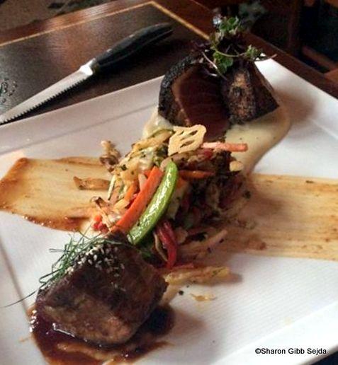 Coast to Farm Pan-fired Ahi Tuna Lion and Glazed Pork Belly