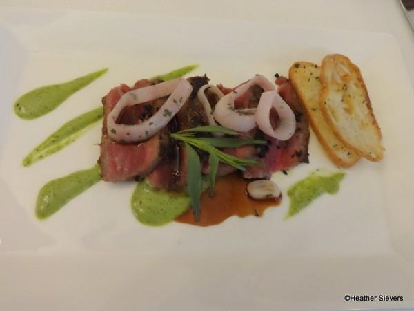 Prime New York of Beef Seared Black & Blue with Tarragon Roasted Garlic Puree