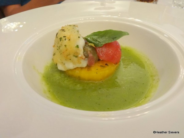 Heirloom Tomato Salad with Crispy Burrata Cheese and Green Tomato Gazpacho.