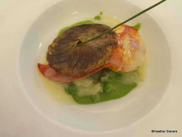Butter Poached Lobster with Braised Leeks and Minted English Pea Puree