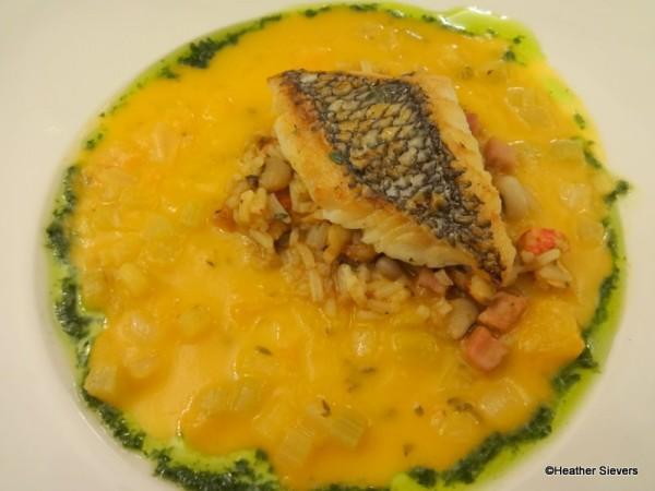 Iron Seared Fish with Crayfish Hoppin' John and Creole Yellow Tomato Sauce