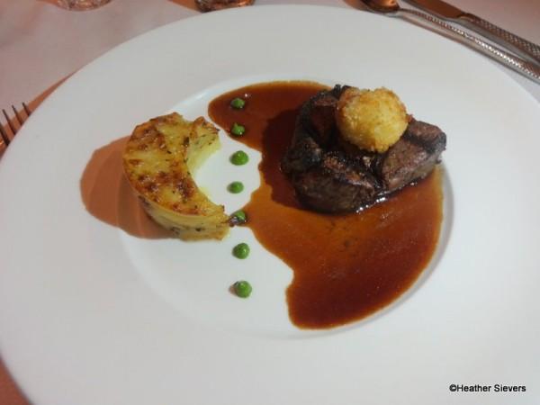Petit Angus Filet Mignon with Tasso Ham, Scalloped Potatoes, & Collard Green Pesto