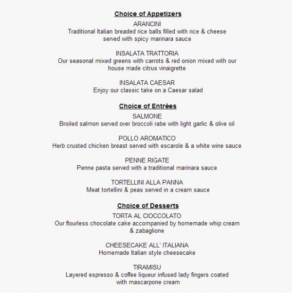 Il Mulino Magical Dining Menu -- Click to Enlarge