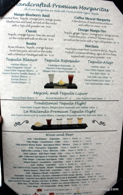 Beverage Menu -- Click to Enlarge