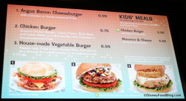 Burger Options on the Menu -- Click to Enlarge