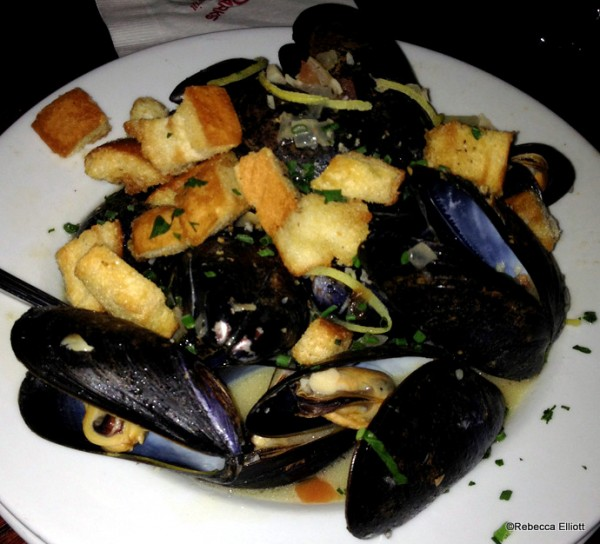 Mussels Provencal with White Wine, Tomato, Garlic, Onion, Basil, and Butter