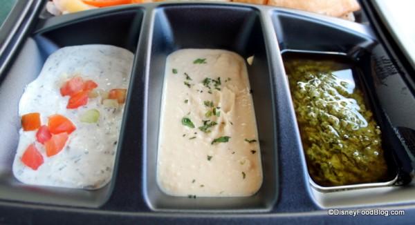 Cucumber Raita, hummus, and Coriander Chutney