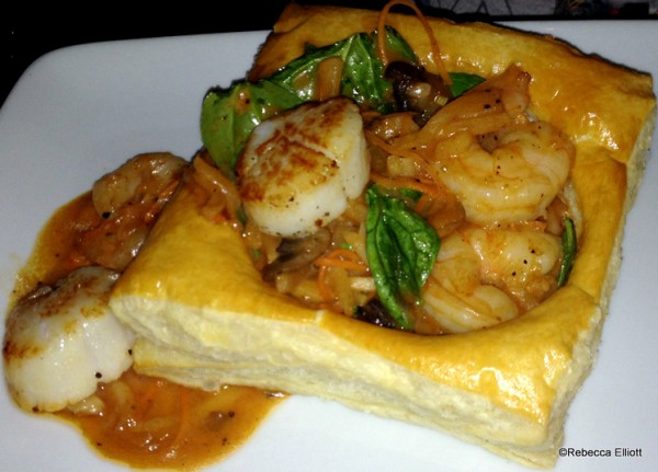 Sautéed Shrimp and Scallops with Seasonal Vegetables Served in Puff Pastry