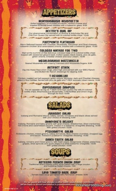 Appetizers and Salads  -- Click to Enlarge