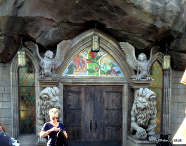 The Entrance of Heavy Wooden Doors with Rose Tile Work