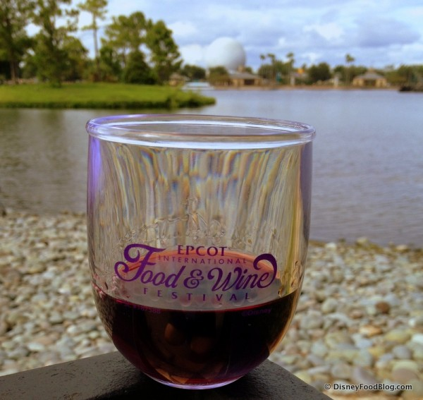 Wine in a 2014 Epcot Food and Wine Festival Souvenir Wine Glass