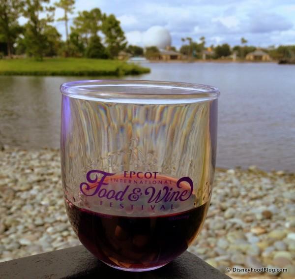 Wine in a 2014 Epcot Food and Wine Festival Souvenir Wine Glass
