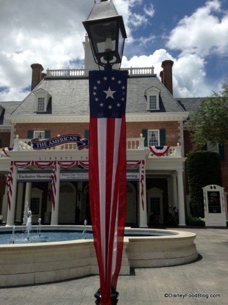Fourth of July decorations at the American Adventure Pavilion