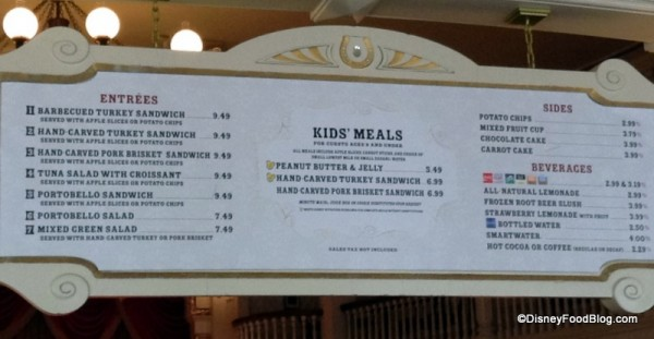 Diamond Horseshoe lunch menu