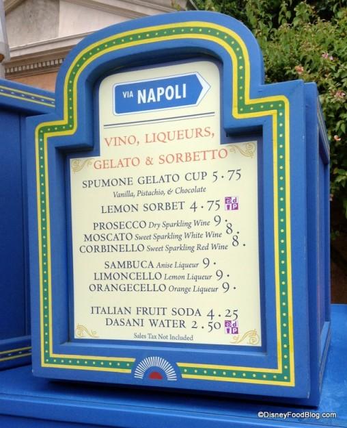 Menu at Italy stand