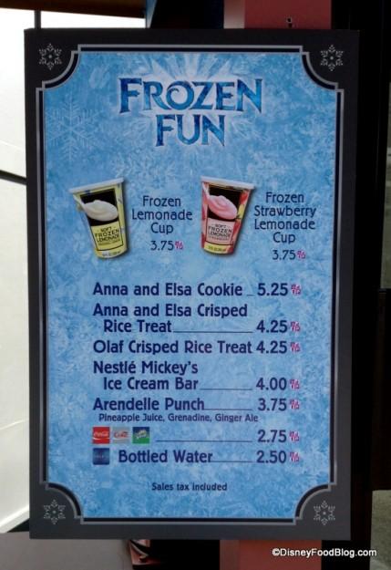 Frozen Fun snack kiosk menu