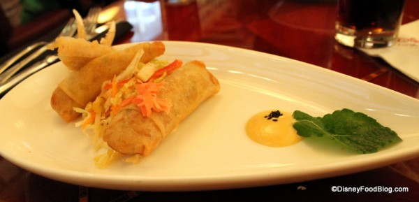 Blue Lump Crab Spring Rolls, Snow Crab Claw, and an Asian Spicy Slaw