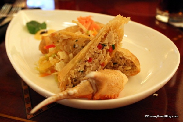 Cross-section of Crab Spring Rolls with Snow Crab Claw