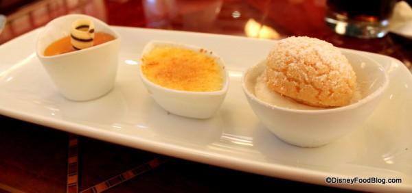 hollywood brown derby dessert trip caramel custard double vanilla bean creme brulee crunchy sugar cookie puff with lemon grass cream (5)