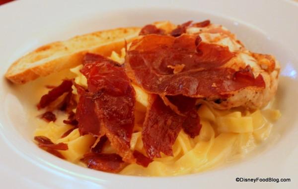 """""""The Original"""" Fettuccine Alfredo topped with Prosciutto Brittle"""