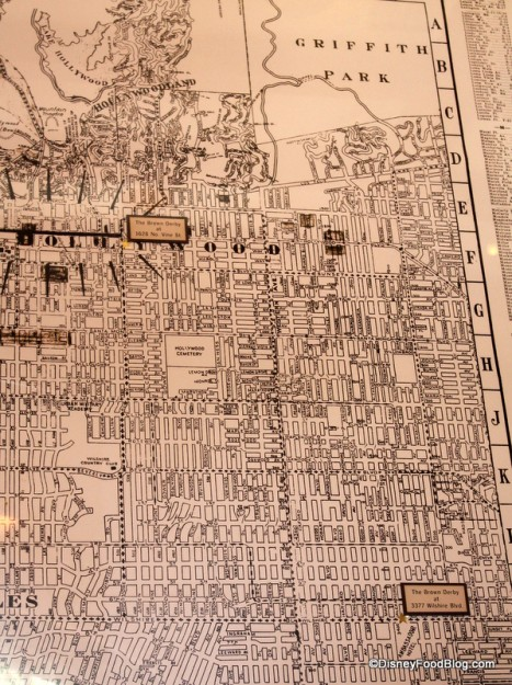 Closeup on the Brown Derby locations, with Griffith Park in the corner