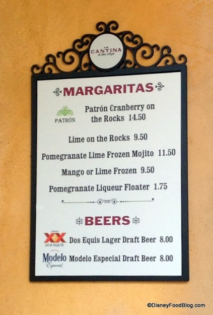 La Cantina Drink Menu