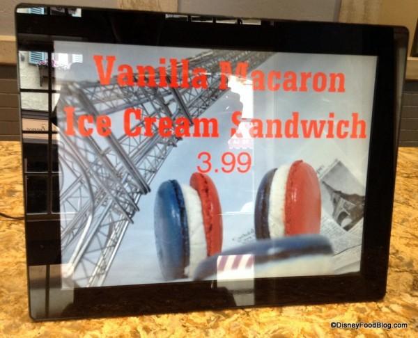 Vanilla Macaron Ice Cream Sandwich sign