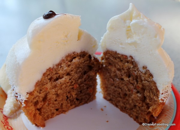 Inside of Olaf Carrot Cake Cupcake with Cream Cheese Icing