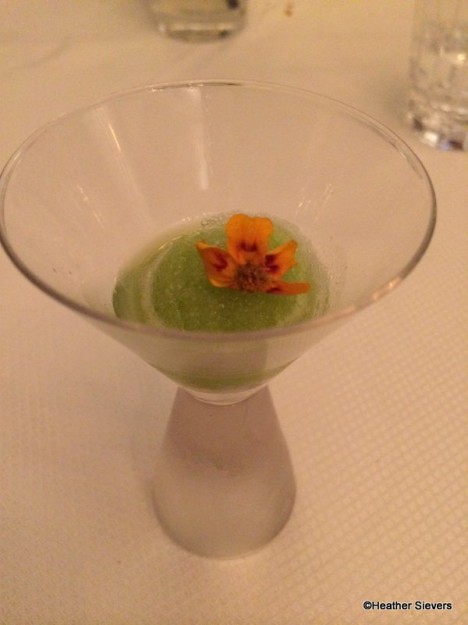 Cucumber Lime Sorbet with Edible Flower